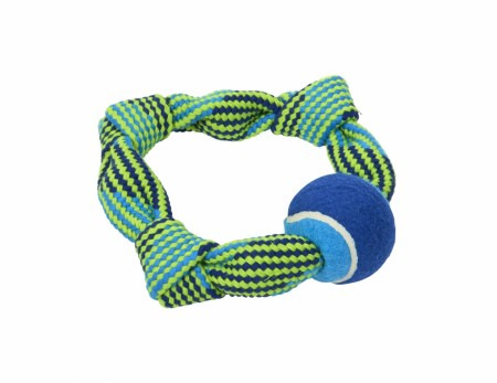 Buster Colour Squeak Rope Circkle med Tennisball, Blå / Lime, 20 cm