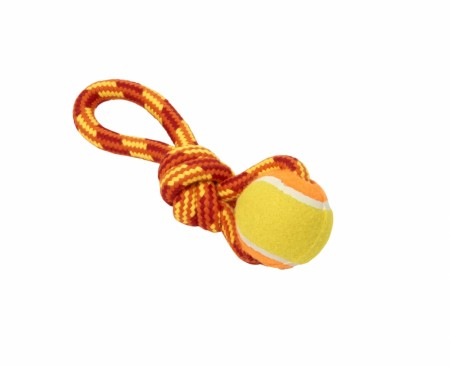 Buster Colour Tuggaball Handle med Tennisball, Rød / Oransje / Gul, 18 cm