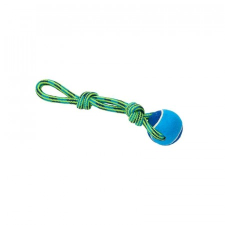 Buster Colour Tuggaball Handle med Tennisball, Blå / Lime, 30 cm