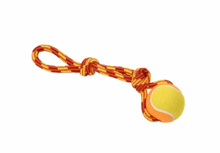 Buster Colour Tuggaball Handle med Tennisball, Rød / Oransje / Gul, 30 cm